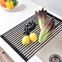 VCCUCINE Multipurpose Stainless Steel Kitchen Countertop Sink Roll Up Dish Drying Rack, Foldable Over Sink Drying Drainer Rack Black