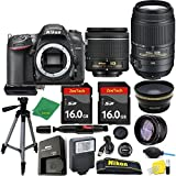 Great Value Holiday Bundle for D7200 with 18-55mm AFP + 55-300 VR + Tripod + 2pcs 16GB Memory Cards + Wide Angle + Telephoto + Reader + Lens Pen + Flash