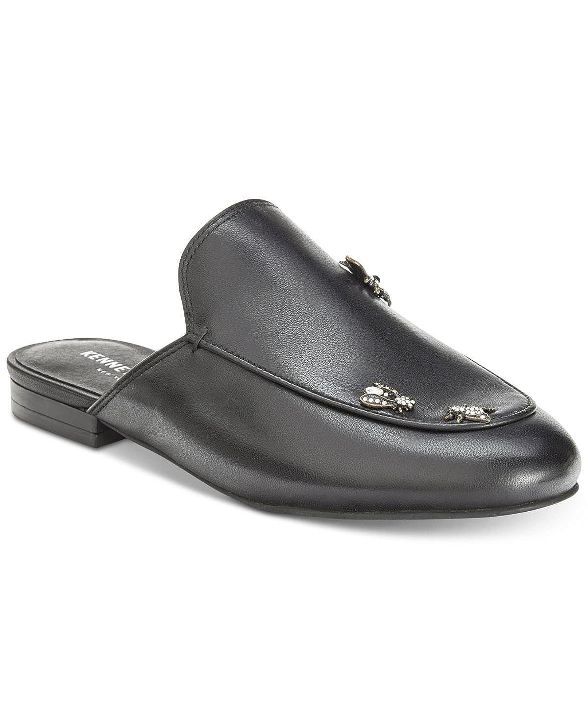 Black Kenneth Cole New York Womens Wallice Flat Slip on Mule Mule