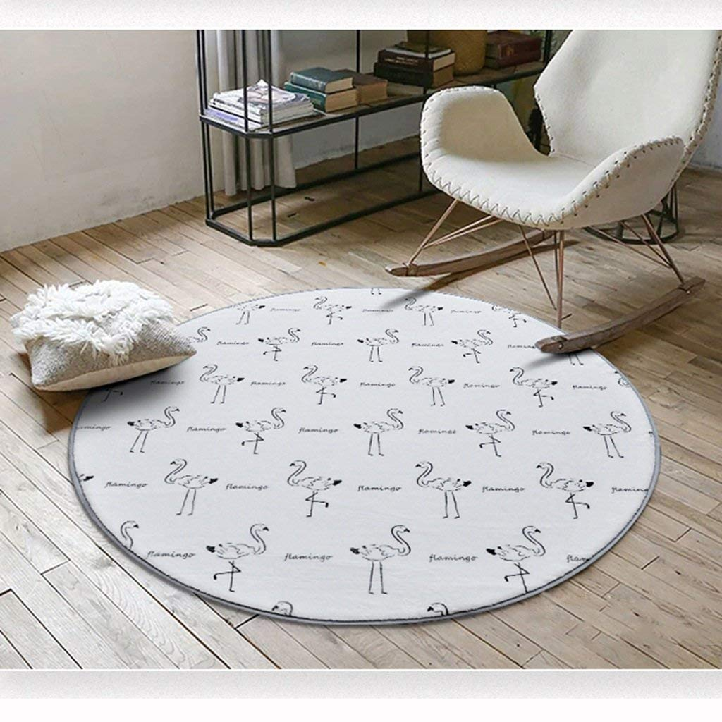 5 80cm Living Room Rug, Round Geometric Pattern Bedroom Area Rug Soft Non-Slip Coffee Table Computer Chair Interior (color    3, Size   80cm) Dust & Water Retaining Door Mat (color    4, Size   120cm)
