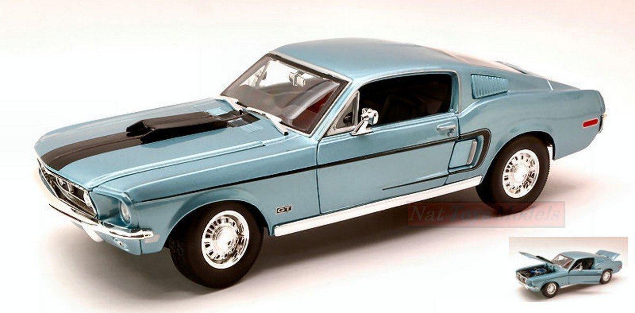 MAISTO MI31167LB FORD MUSTANG GT COBRA JET 1968 LIGHT BLUE METALLIC 1:18 MODEL