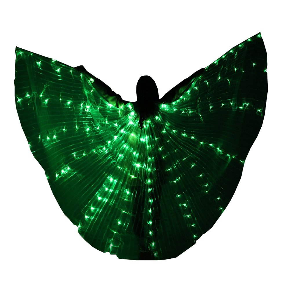 0a7adaacd0432 LED Isis Wings Glow Light up Belly Dance Costumes DJ Performance Clothing  Carnival Halloween (Green)