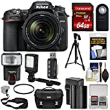 Nikon D7500 Wi-Fi 4K Digital SLR Camera & 18-140mm VR DX Lens 64GB Card + Battery & Charger + Case + Tripod + Flash + LED Video Light + Strap Kit