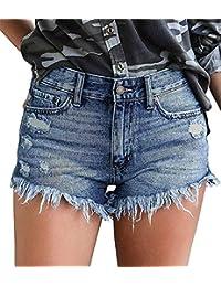 onlypuff Womens Shorts Denim Hot Pants High Waisted Raw Hemline