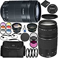 Dual Lens Bundle for EOS 7D Mark II, 7D, 80D, 70D, 60D, Rebel T6s, T6i, T5i, SL1, T3i, T6, T5. Includes Canon EF 75-300mm f/4-5.6 III Lens + Canon EF-S 55-250mm f/4-5.6 IS STM Lens 15PC Accessory Kit