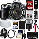 Pentax K-70 All Weather Wi-Fi Digital SLR Camera & 18-135mm WR Lens (Silver) 64GB Card + Backpack + Flash + Battery + Tripod + Filters + Remote + Kit