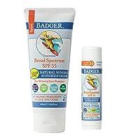 Badger - SPF 35 Clear Zinc Sport Sunscreen Cream, Unscented, 2.9 fl oz & SPF 35 Clear Zinc Sport Sunscreen Stick, Unscented, 0.65 oz, Water Resistant Reef Safe Sunscreen