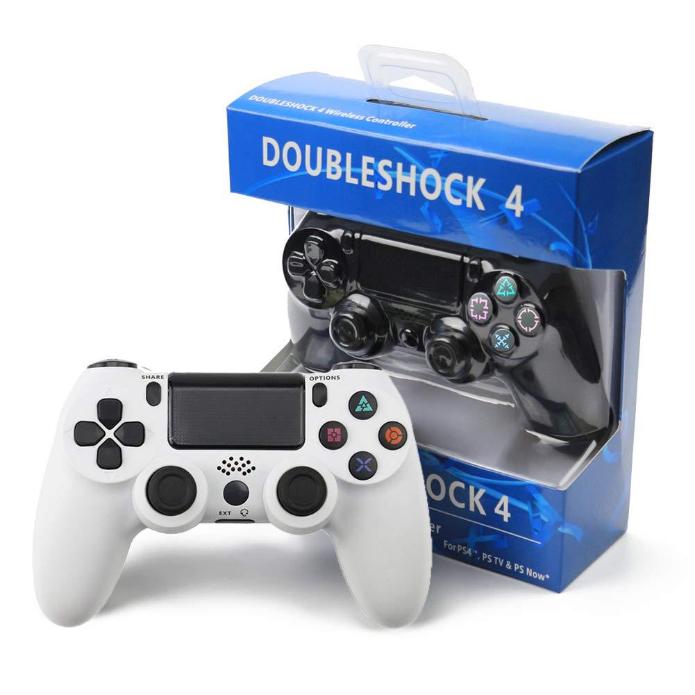 RQINW Controlador de Juegos inalámbrico Bluetooth Gamepad, Carga USB, retroalimentación de vibración, Controlador de Juegos aplicable para PS4 (Blanco)