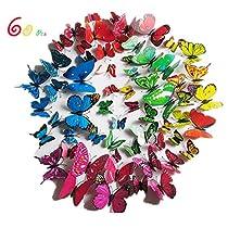 ITECHNIK 立体3D蝶々 蝶型貼り紙 60枚入り 磁石と両面テープ ウォ...