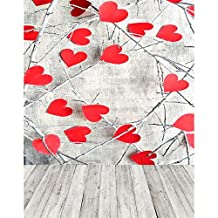 5x7 Photography Backdrop Grey Wall Red Sweetheart Photo Background Vintage Wood Baby Shower Photocall Vinyl Backgrounds