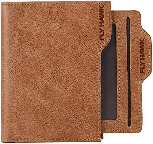 FlyHawk Men's RFID Blocking Italian Genuine Handmade Leather Bifold Wallet