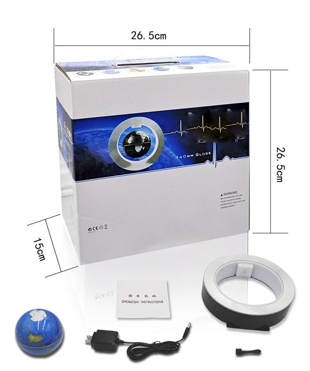 CWXDIAN O-förmige Magnetschwebekugel, Magnetschwebekugel, Magnetschwebekugel, die die kreative Geburtstagsgeschenk-Bürodekoration der Rotation beleuchtet, blau, 6 Zoll 084d2d