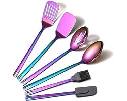 Rainbow Kitchen Utensils Set, 6 Pieces Stainless Steel Cooking Utensils Set With Titanium Rainbow Plating, Kitchen Tools Set