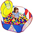 Eocolz Kids Ball Pit Large Pop Up Childrens Ball Pits Tent for Toddlers Playhouse Baby Crawl Playpen with Basketball Hoop and