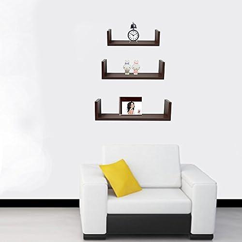 halter wall shelves set of 3 u shaped floating shelves - Hanging Bookshelves