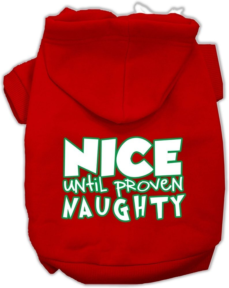 Mirage Pet Products 62-159 SMRD Nice Until Proven Naughty Screen Print Red Pet Hoodie, Small