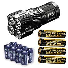 Bundle: Nitecore TM28 6000 Lumen Rechargeable Flashlight / Searchlight w/4x Panasonic/Sanyo 3500mAh 10A 18650 Batteries
