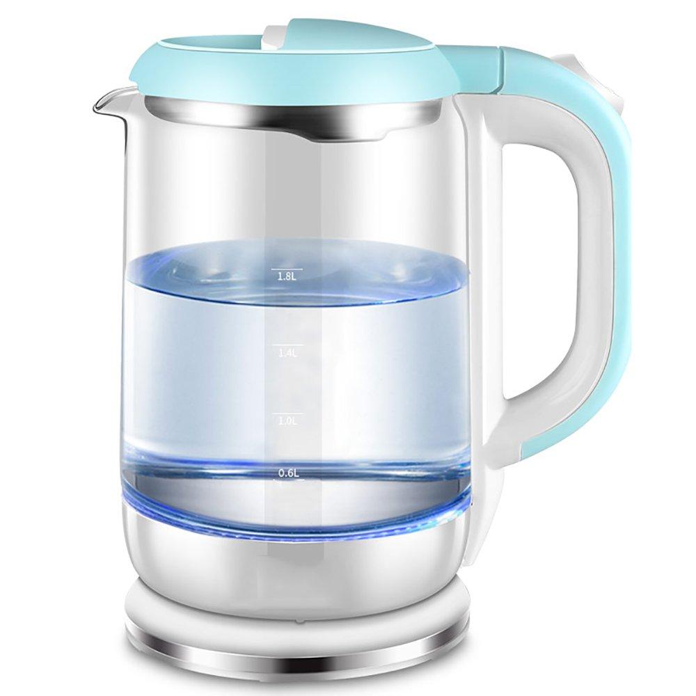 CAIXIA Wassertopf &Wasserkocher Blauer Edelstahl-Glas-Wasserkocher Automatische Abschaltung Großer Kapazität Haushalt Wasserkocher 1.8L Schnelles Kochen