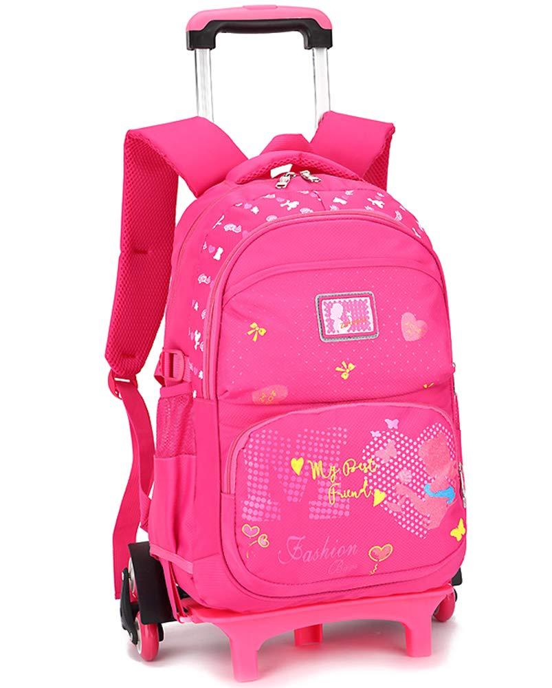 DAZISEN Trolley Zaino - Scuola Zaino Multi-Funzione Trolley con Ruote Zaini per Bambina, ragazzo, rosa rossa, 6 ruote