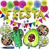 27 PCS Cinco De Mayo Fiesta Party Decoration Supplies with Cactus Avocado Fiesta Balloons, Tissue Pom Paper Flowers, Triangul