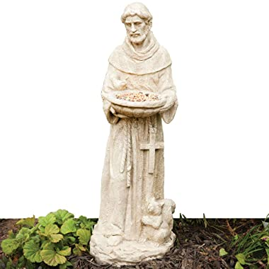 Bits and Pieces Garden Décor-Durable Polyresin St. Francis Bird Feeder Statue 26 in- Amazing Sculpture for Your Lawn, Garden or Patio