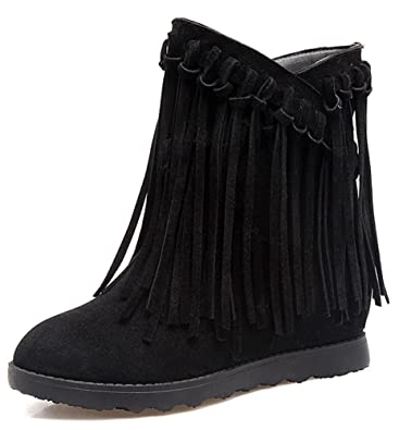 Women's Unique Fringed Round Toe Pull On Ankle Boots Low Heels Elevator Hidden Wedge Booties With Fringes