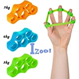 Izoo Best Finger Exerciser 3 Pcs Resistance Bands Hand Grip Strengthener Extender Trainer Stretcher Gripper Extensor