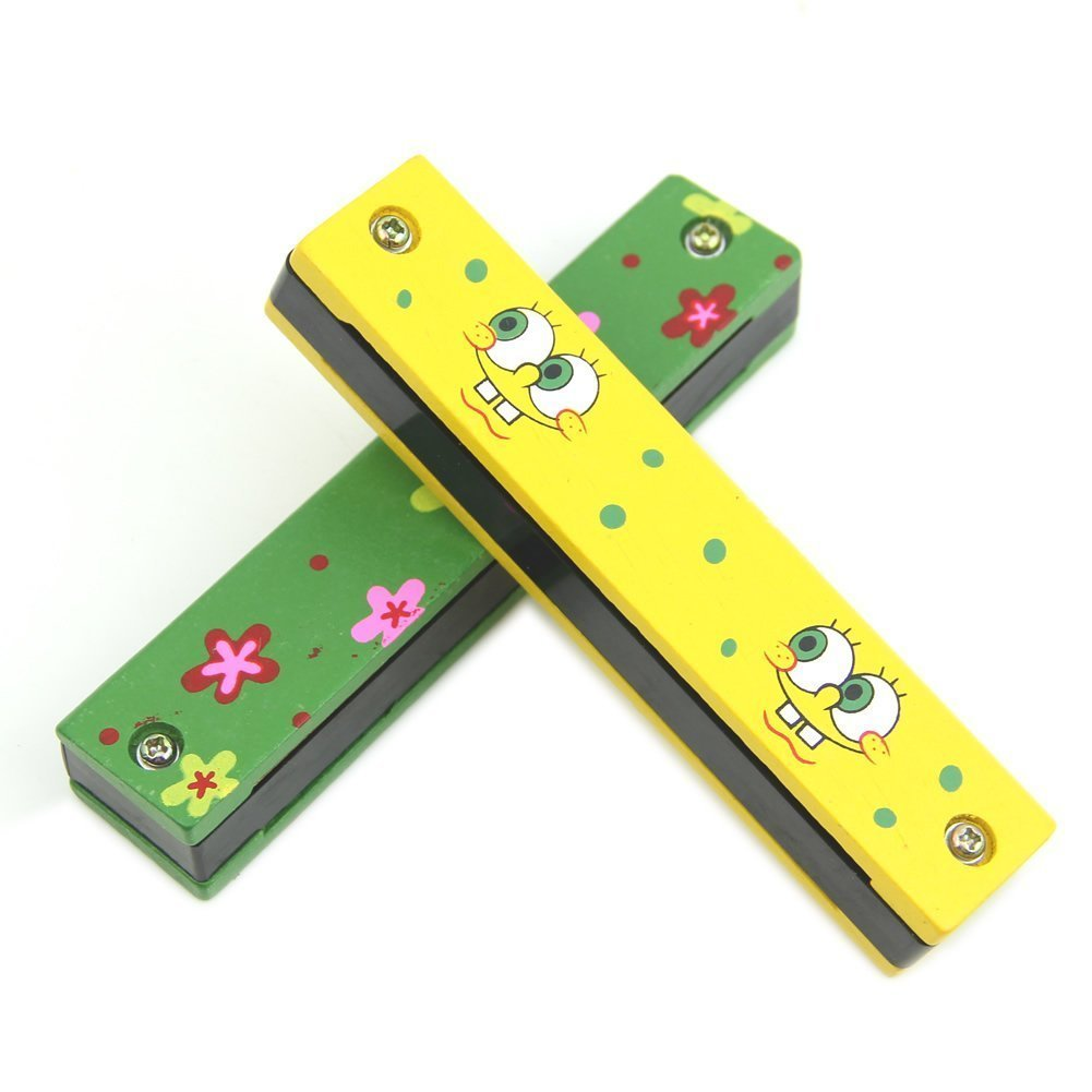 TOOGOO(R) Wooden Painted Harmonica Children Kids Musical Instrument Educational Music Toy