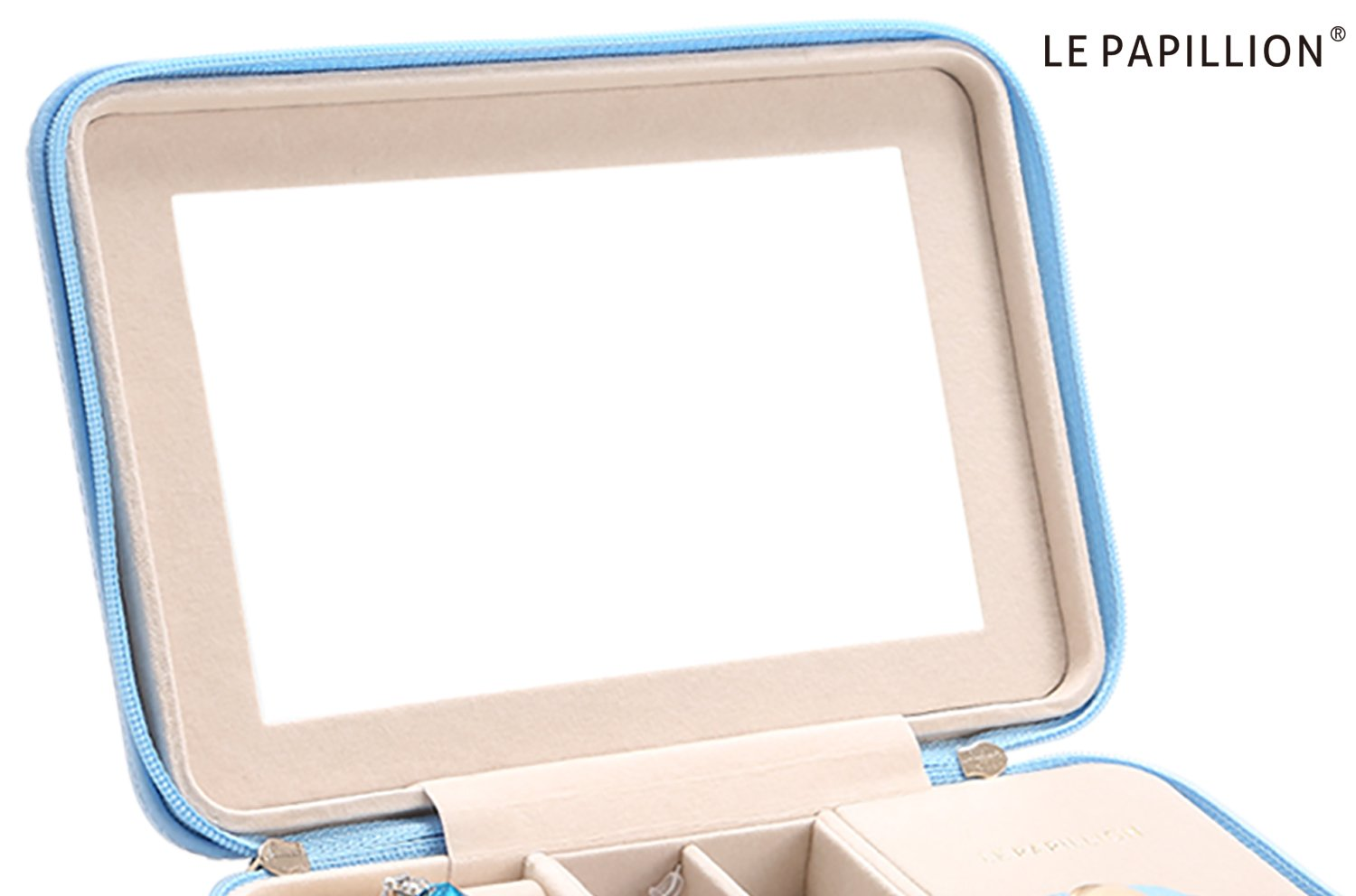 LE Papillion Small Jewelry Box Travel Jewelry Box Jewelry Travel Case Jewelry Organizer with Large Mirror, Gifts for Women, Great Gift Idea(Blue) by LE PAPILLION JEWELRY (Image #3)