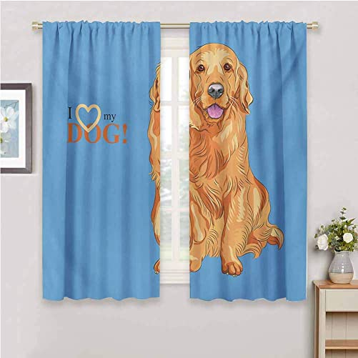 DIMICA Curtain Panels Golden Retriever Smiling Cute Dog Cartoon Style I Heart My Pet Theme