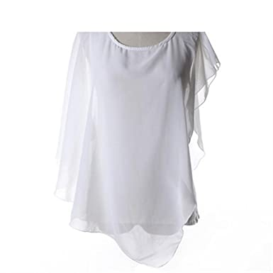 Casual Ruffle Chiffon Blouse Shirts Women Crew Neck Sleeveless Blouse Ladies Tops Loose Shirt 1 S