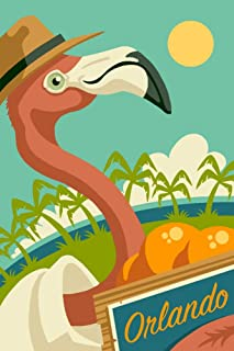 product image for Orlando, Florida - Flamingo and Oranges 100286 (36x54 Giclee Gallery Print, Wall Decor Travel Poster)