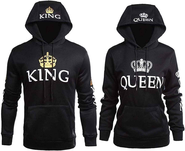 Pareja King & Queen Sudaderas con Capucha Manga Larga Encapuchado Jersey Pull-Over para Hombre y Mujer