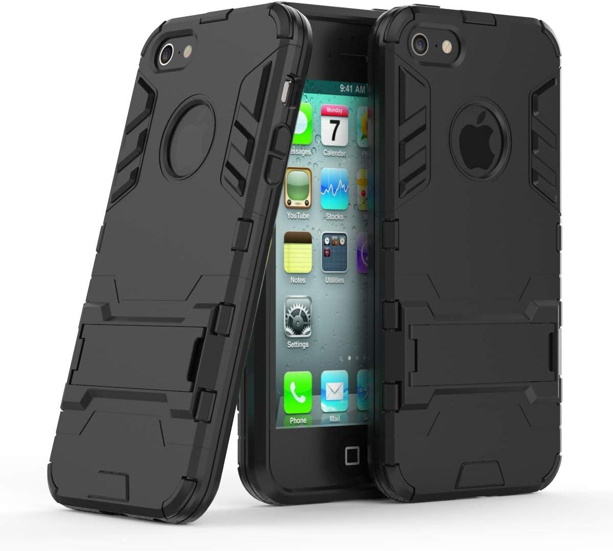 Cocomii Iron Man Armor iPhone SE/5S/5C/5 Case, Slim Thin Matte Vertical & Horizontal Kickstand Reinforced Drop Protection Fashion Phone Case Bumper Cover for Apple iPhone SE/5S/5C/5 (Jet Black)