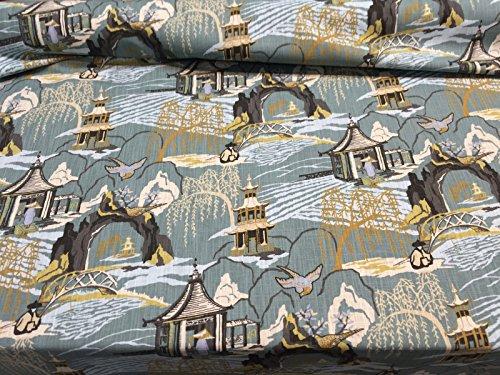 Neo Toile Cove blue Asian Style Print Robert Allen Fabric...