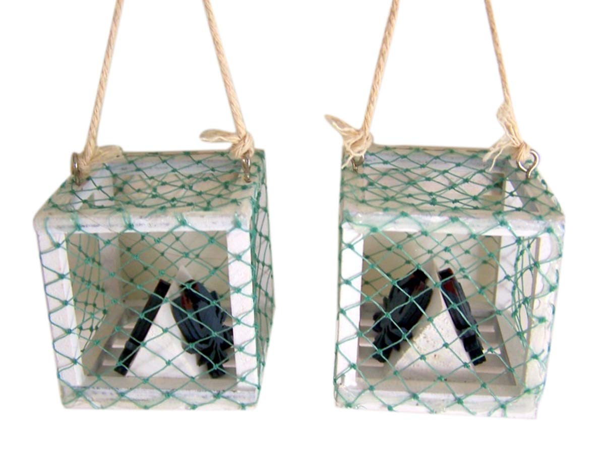 Blue Crab Trap Hanging Ornament Set of 2