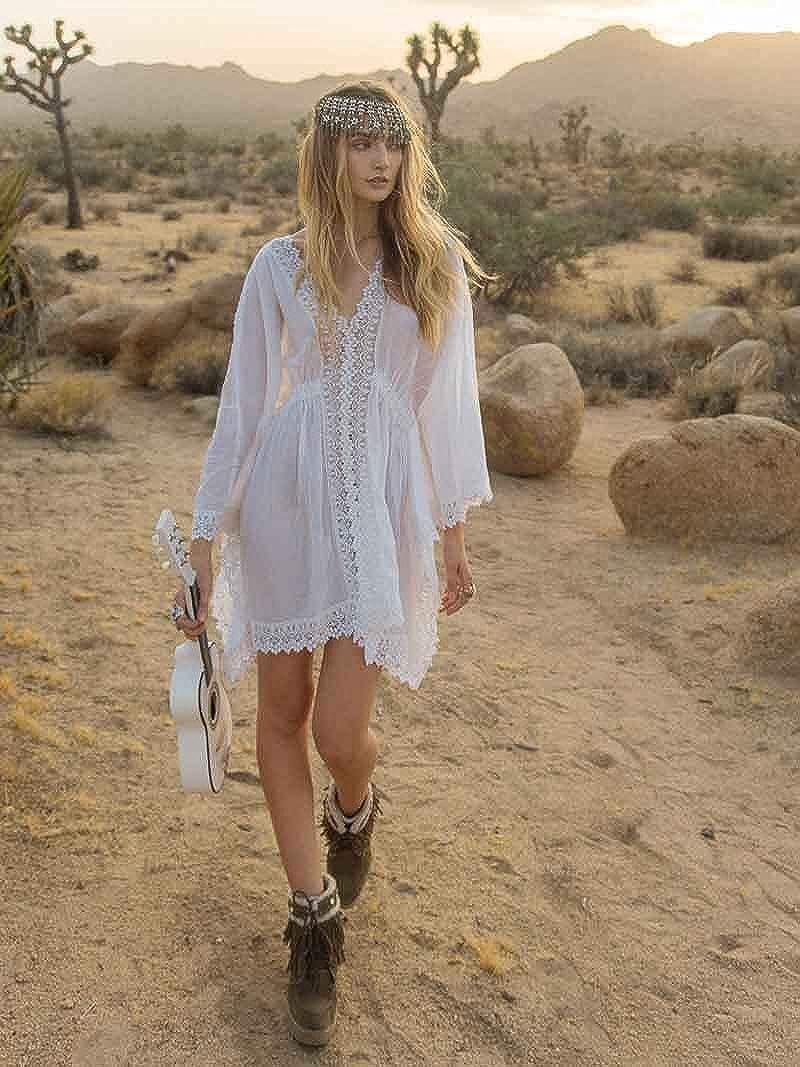 Cebilevin Damen Sommerkleider lang Weiß Kurzarm Damen Sommerkleider Strandkleid Boho Maxikleid Kleider #0941 Weiß
