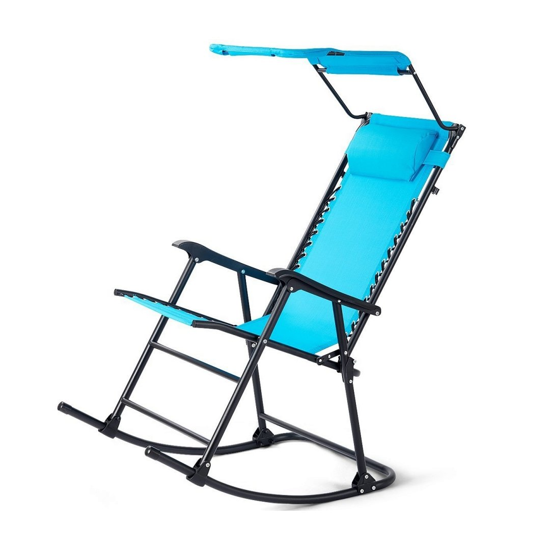 Portable Folding Rocking Chair Outdoor Rocker Porch Durable Construction Patio Zero Gravity Recliner Furniture w/Sunshade Canopy and Pillow - Light Blue #1925