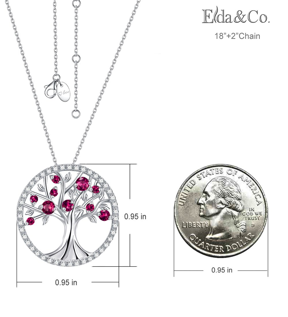 July Birthstone Created Ruby Necklace The Tree of Life Pendant Jewelry Birthday Anniversary Gift for her Wife Family Sterling Silver by Elda&Co (Image #2)
