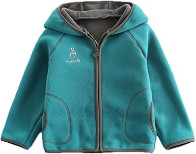 Feidoog Kids Polar Fleece Jacket Hooded Long Sleeve Coat Zip up Outerwear
