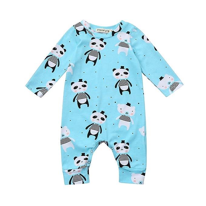 Yannerr Bebé niña nino Dibujos Panda estampada mameluco mono camiseta tops sudadera vestido recién nacido manga