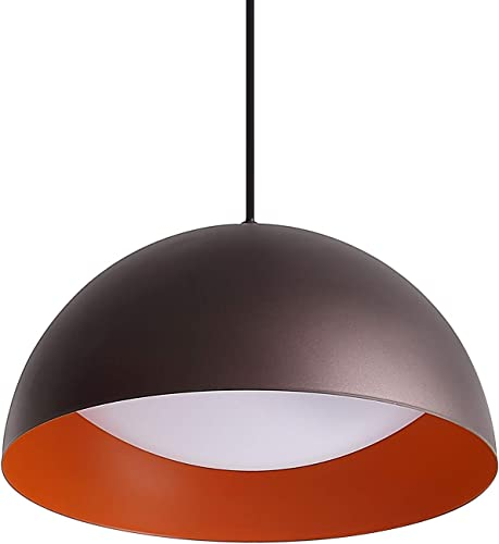Modern Orange LED Pendant Lighting, 11.8inch 12W Cool White 4000K, One-Light Adjustable Dome Metal Hanging Light Fixture for Kitchen Island Dining Room, Oil Rubbed Bronze Finish