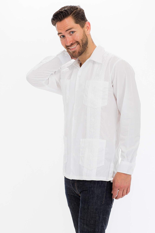 Squish Guayabera - Camisa de manga larga, color blanco - Blanco - X-Large: Amazon.es: Ropa y accesorios