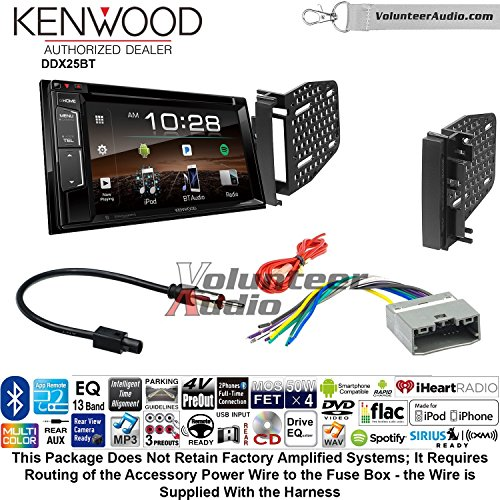 Volunteer Audio Kenwood DDX25BT Double Din Radio Install Kit with Bluetooth CD DVD Player Fits 2009-2010 Ram 2011-2014 Chrysler 200 (REF, REC, and RAK Factory Radios) Vga Install Kits