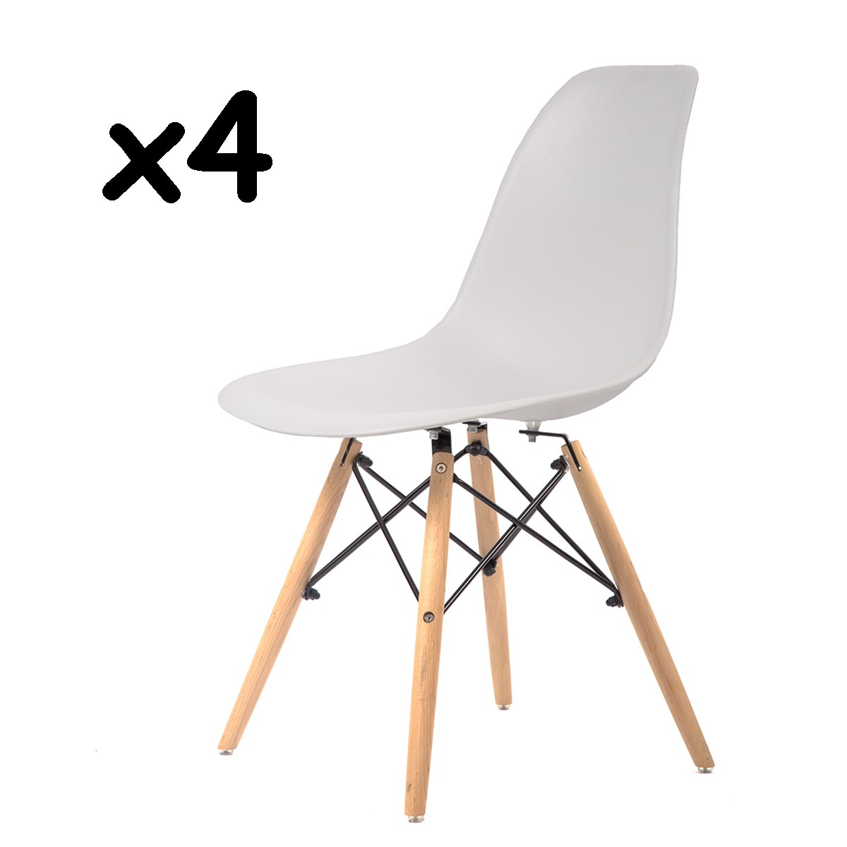 Mr-Direct Mid Century Modern Style Plastic Dining Side Chair Wood Legs Set of 4 White