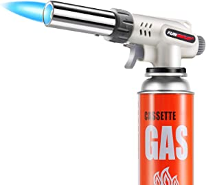 Butane Torch Kitchen Blow Lighter, Culinary Torches Head Professional Chef Cooking Adjustable Flame For Sous Vide, Creme Brulee, Baking, BBQ (Butane Gas Not Included)