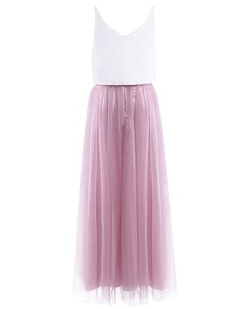 iiniim Damen Kleid Festlich Cocktailkleid Abendkleid Maxikleid Brautjungfer  Hochzeit Kleid Tank Top mit langes Mesh Rock Gr.34-46  Amazon.de  Bekleidung 0f7f09944a