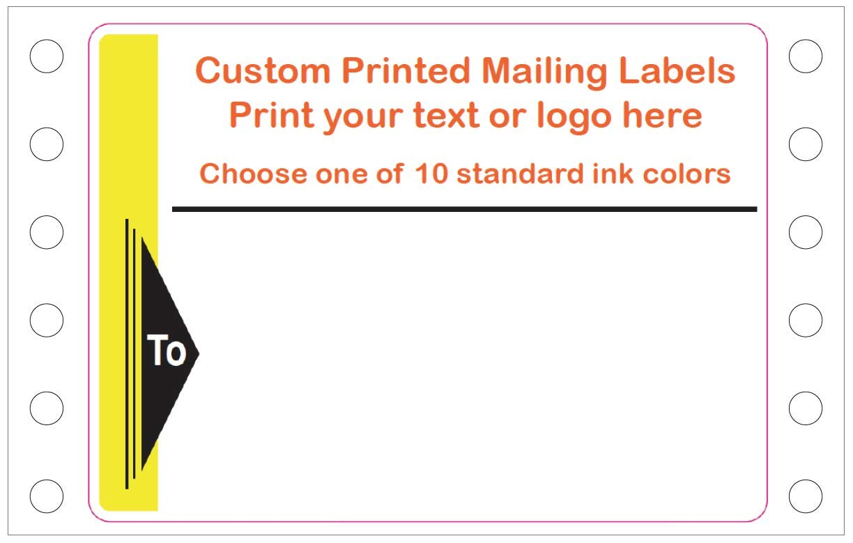 Amazon com mailing stickers custom printed continuous pinfeed your logo image or text imprinted 1 color pinfed 4 x 3 for business shipping