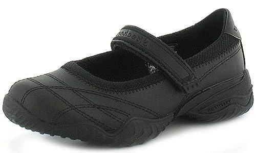 Skechers - Zapatos de Niña Cuero Negro Cierre Tira de Velcro Escuela Colegio  - Tallas 27 - 38 - Negro 90e945805dbc