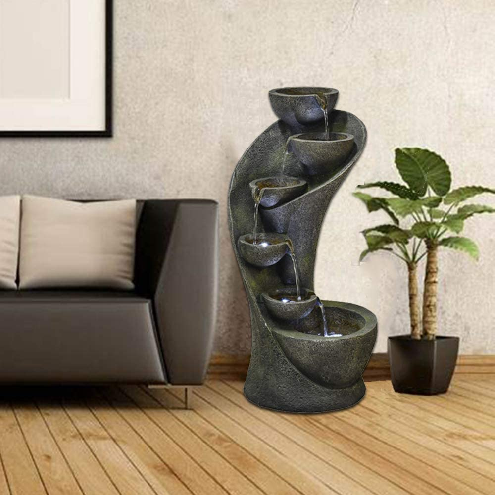 chillscreamni Outdoor Garden Fountain - 23.6in Outside Fountains and Waterfalls with 6 Bowls Curved Design for Indoor&Oudoor Decor | Portable Home Fountain with LED Lights for Garden, Patio, Backyard